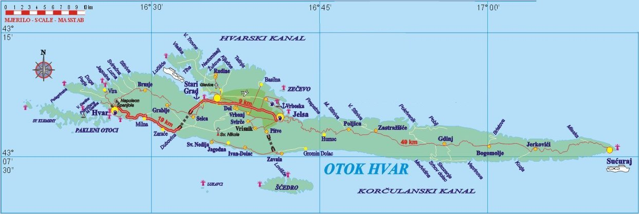 Map Of Hvar Island Hvar maps   HVAR Info.com