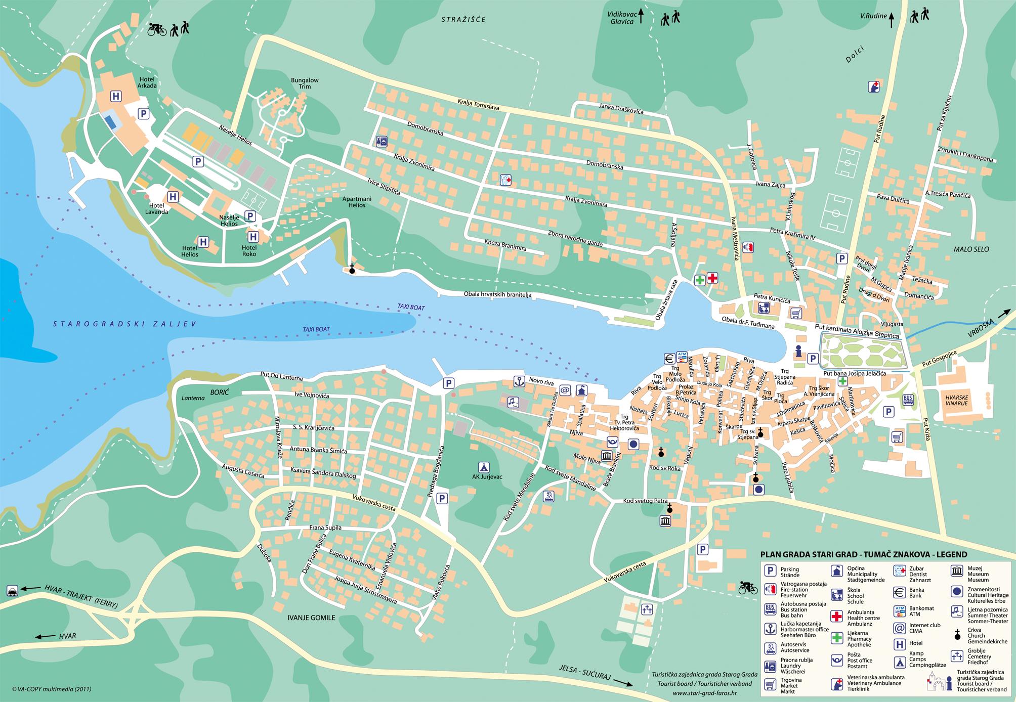 savski venac mapa Map of Stari Grad   HVAR Info.com savski venac mapa